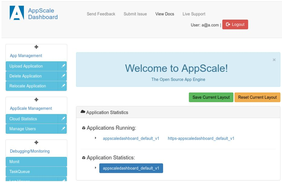 AppScale dashboard